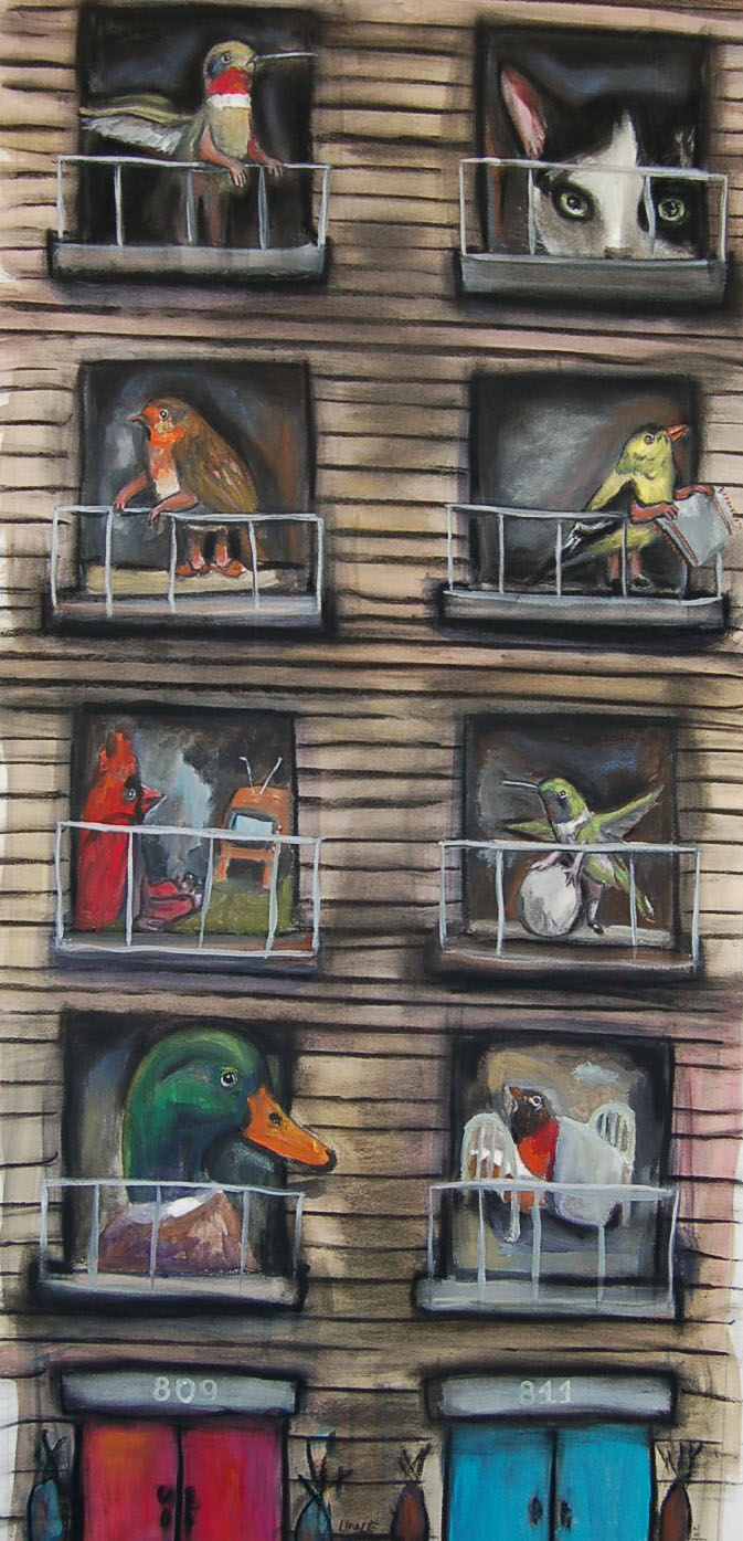 BIRDLAND APPARTMENTS- mixed media on paper