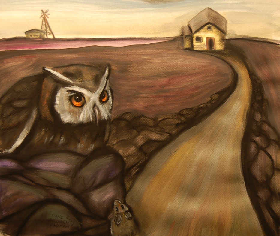 OWL IN LANDSCAPE- mixed media on paper
