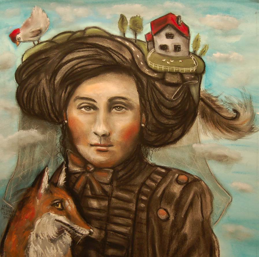 Liane McLaren Varnam, The Foxfaced Girl, mixed media on paper