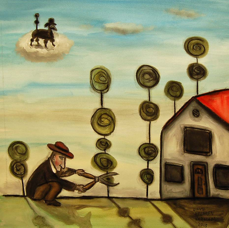 Liane McLaren Varnam, The Man who misses his Poodle, mixed media on paper