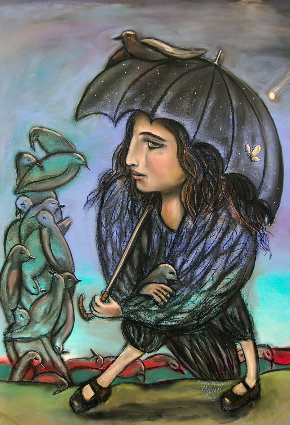 to make of me a drying umbrella- pastel, charcoal on paper