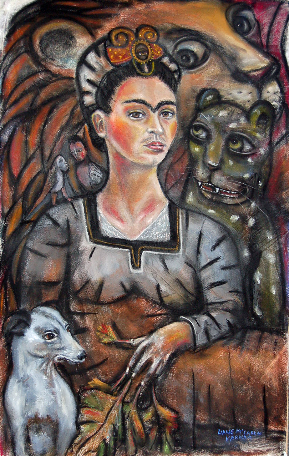 VEGETABLE LOVE- portrait of Frida- 28 x 44 in