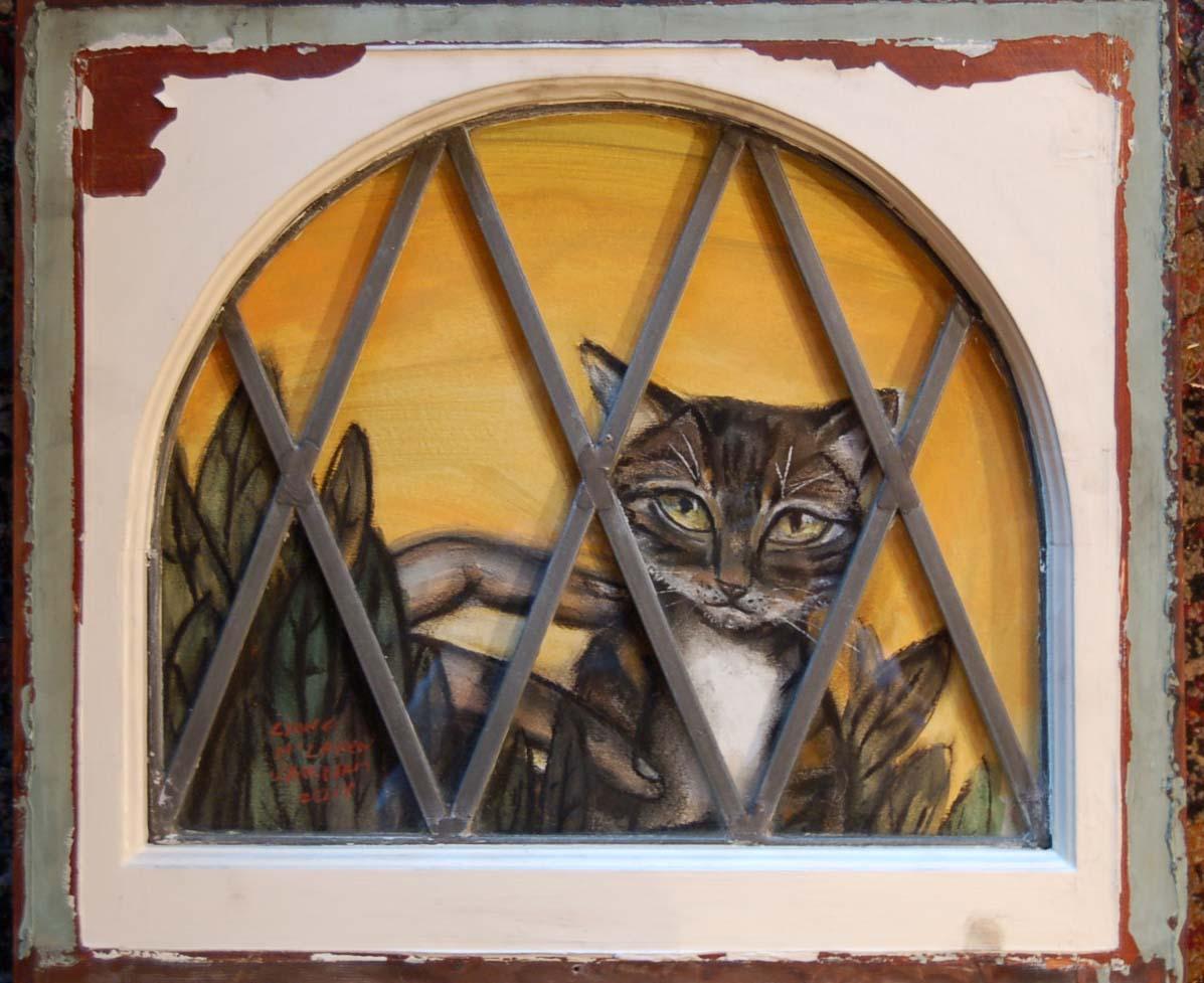Freud's cat, mixed media onpaper