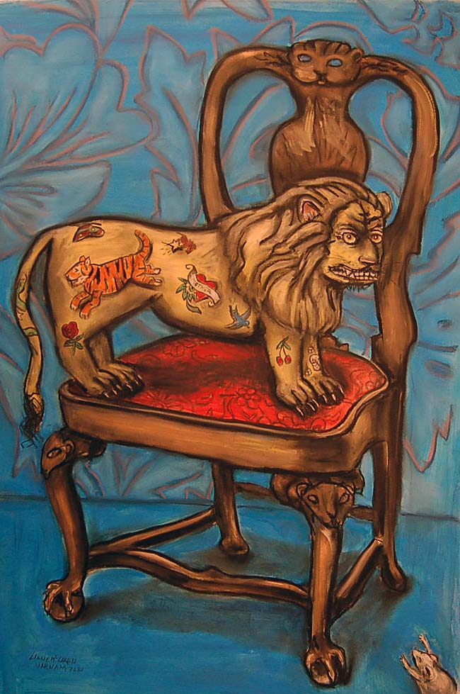 The Tattoo Lion, mixed media on paper