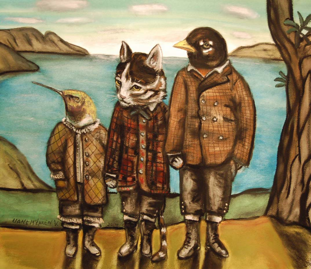 West Coast friends, mixed media on paper