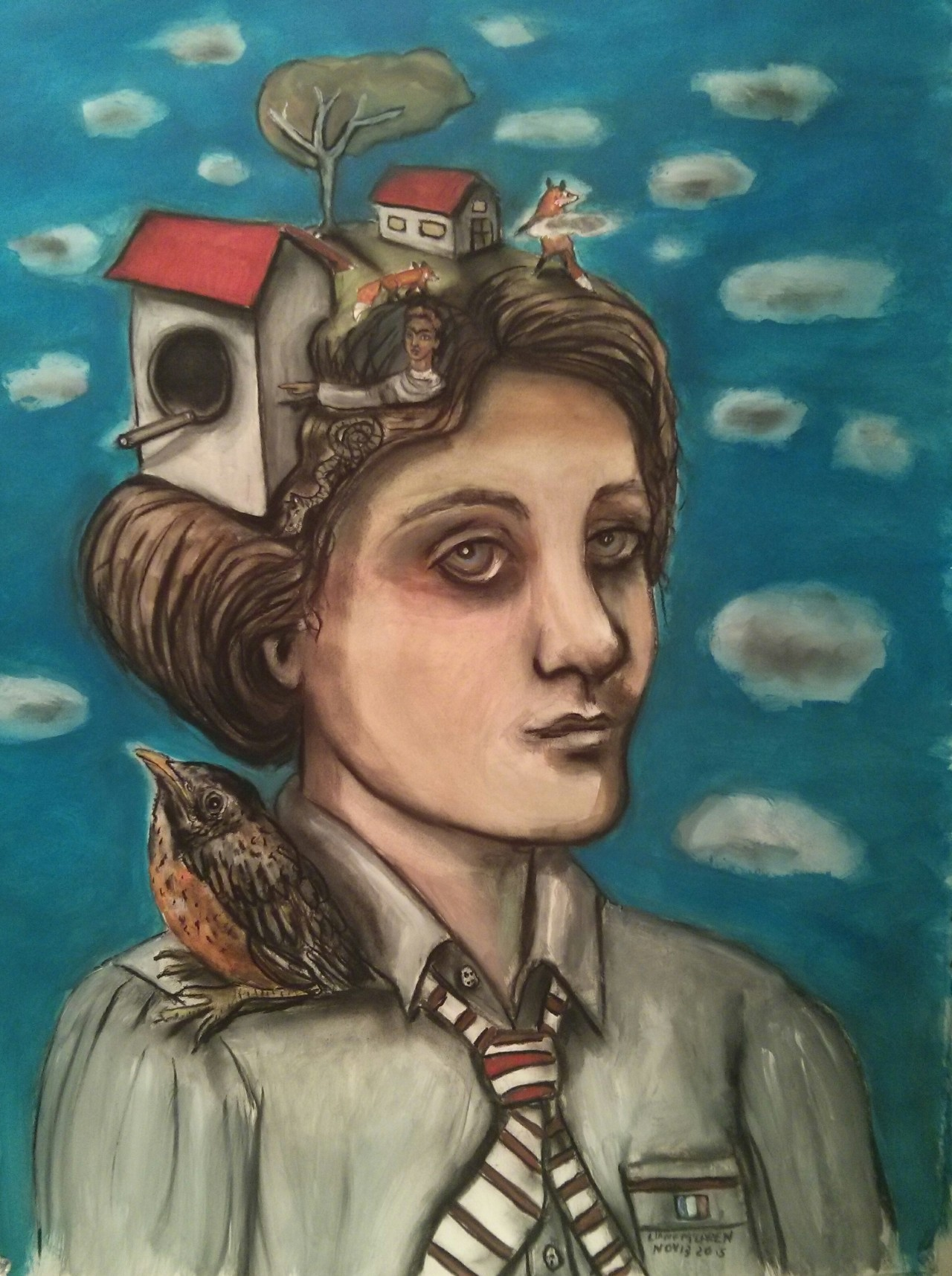 """The French School Girl"" mixed media on paper, available."